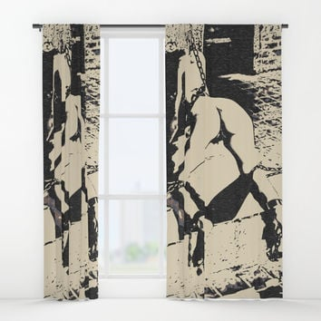 Into the Den - sexy submissive slave girl in dark Master's erotic dungeon, BDSM bondage fetish Window Curtains by Casemiro Arts - Peter Reiss