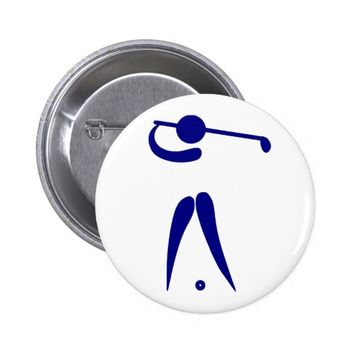 Golf Player Blue White Sports, add text and color Pinback Button