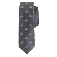 J.Crew Mens Silk Tie With Embroidered Shark Fins
