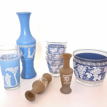 Vintage Glassware Jasperware Neoclassical Wegewood Blue Barware Vases Home Decor Grecian Vase Glasses Grapes Greek Maidens Collection