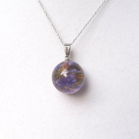 Orb Resin Pendant Necklace, Real Flower Jewelry,  Botanical Pendant, Resin Necklace, Real purple flower