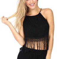 Black Fringe Halter Crop Top at Blush Boutique Miami - ShopBlush.com