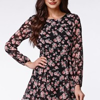 Lucca Couture Long Sleeve Black Rose Dress - Womens Dress - Floral