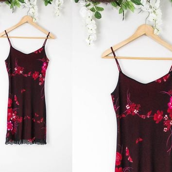 Vintage Maroon Grunge Floral Mini Dress