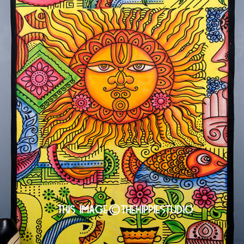 Sun God Psychedelic Celestial Sun Moon Tapestry ,Star Tapestry, Hippie Indian Tapestries, Tapestry Wall Hanging, Dorm Wall Tapestris Throw