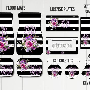 Black & White Stripe with Floral Bouquet Car Mat /Plate & Frame / Seat belt cover / Key Chain / Car Coaster / Car Accessory Gift  Set