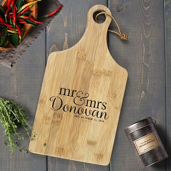 Personalized Engraved Paddle Cutting Board, Bamboo - CB07