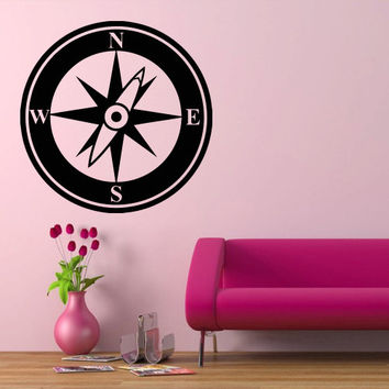 Wall decal decor decals art compass direction north west south east (m493)