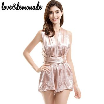 Love&Lemonade  Sexy  Halter Changeable  Jumpsuits Nude/Black TB 9362