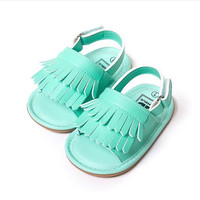 Mint Fringe- PU baby sandals