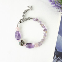 Amethyst Gemstone Bracelet with Rose Quartz and Ametrine Stone Chips, Lucky Clover Crystal Jewelry