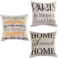 """Low Price """"You are my Sunshine """"Cotton Linen Leaning Cushion Throw Pillow Covers Pillowslip Case Good Design 45*45 cm"""
