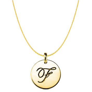 """""""F"""" 14K Yellow Gold Script Engraved Initial Disk Pendant"""