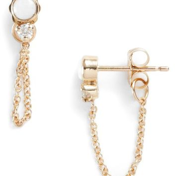 Zoë Chicco Diamond & Opal Front Back Earrings (Nordstrom Exclusive) | Nordstrom