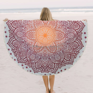 Indian Vintage Round Ombre Tapestry Hippie Wall Hanging Mandala Bedspread Yoga Mat Towel