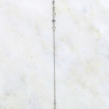 Crystal Drop Necklace Silver