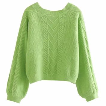 Autumn twist short lantern sleeves knit women's sweater