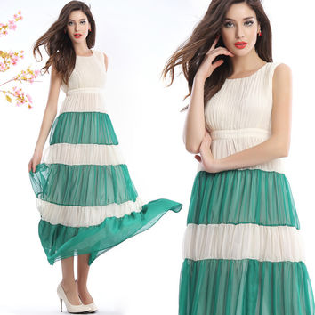 Pleated Maxi Dress with Stiching