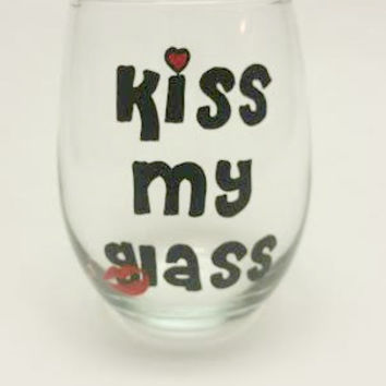 Kiss My Glass hand-painted stemless wine glass tumbler