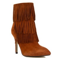 Kristin Cavallari For Chinese Laundry Ginger Suede Fringe Heeled Booties
