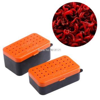 2 Compartments Fishing Baits Earthworm Worm Lure Storage Case Tackle Box 2 Sizes Drop ship