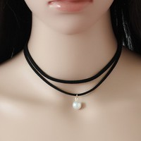 Casual Pearl Pendant Layers Choker Necklace