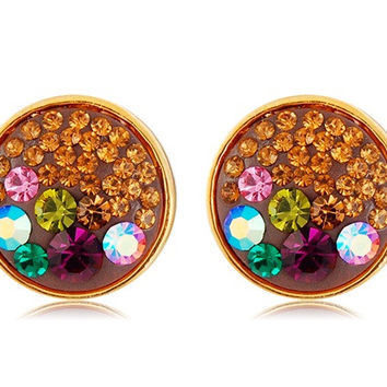 Neoglory Colorful Crystal Decorated Earrings