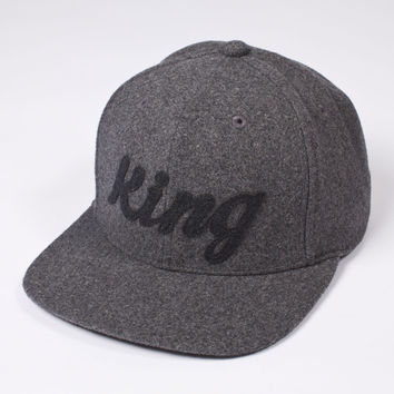 King Apparel - Script Heritage Snapback - Grey Flannel