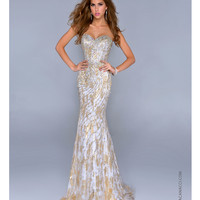 NC-9000 Gold Embellished Organza Mermaid Prom Gown