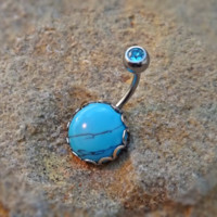 Turquoise Stone Belly Ring Fits In Navel Rhinestone Top 14ga Body Jewelry Surgical Steel