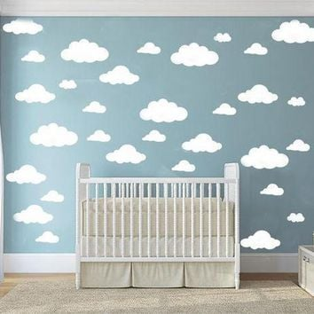 31pcs/set  Diy Big Clouds 4 10 Inch Wall Sticker Removable Wall Decals Vinyl Kids Room Decor Art Home Decoration Mural Kw 132