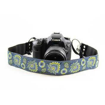 Deer Flower Blue 2In Camera Strap - Capturing Couture - CASLR20-DFBL
