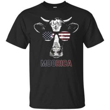 Moorica July 4th Funny Cow Independence T-Shirt_Black T-shirt