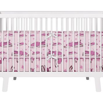Pink Snowmobile and Snowflakes Baby Crib Bedding Set from Extremely Stoked Snocross