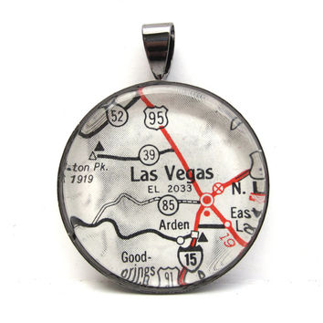 Road Map Pendant of Las Vegas, Nevada, from Vintage in Glass Tile Circle
