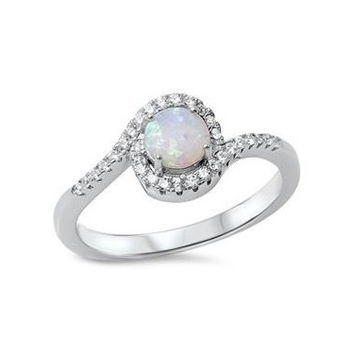 Sterling Silver White Opal Halo Swirl Ring