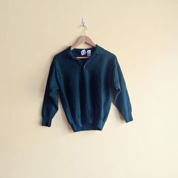Vintage 90s Versace Sweater - Made in Italy Vintage Versace Clothing Emerald Green Sweater Green Pullover Wool Pullover Sweater Green Wool