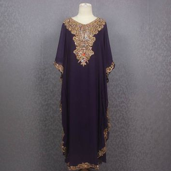 Purple Moroccan Dubai Abaya Maxi Caftan Dress, Very Fancy Sequin Caftan Dress, Plus Size Caftan Maxi Dress, Maxi Kaftan Gowns Dresses
