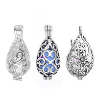 20pcs Hollow Cage Filigree Vintage Teardrop Pendants Aromatherapy Mermaid Essential Oil Diffuser Necklace Locket For DIY Jewelry