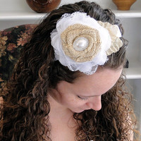 Burlap, Chiffon and Lace Flower White Satin Head Band Fascinator with Pearl & Rhinestones Rustic Shabby Chic Flower Girl Bridesmaid