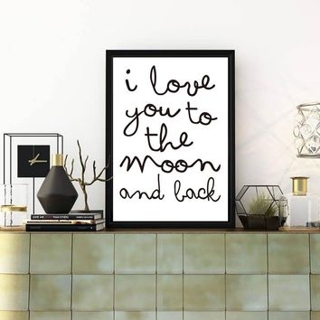 Love Maxim I Love You To The Moon And Back Posters And Prints Wall Art Canvas Painting Nordic Decoratio For Bedroom No Frame