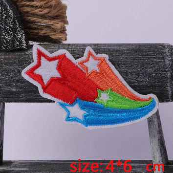 2016year New arrival 1PC shooting star Iron On Embroidered Patch For Cloth Cartoon Badge Garment Appliques DIY Accessory