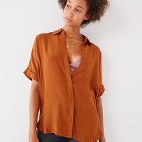 UO Oversized Short Sleeve Button-Down Top | Urban Outfitters