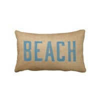 Burlap Vintage Beach Live Love Surf Blue from Zazzle.com
