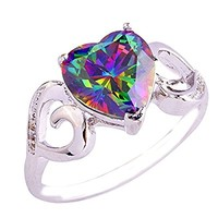 Empsoul 925 Sterling Silver Natural Chic Filled Rainbow Topaz Wedding Engagement Ring Heart Shaped