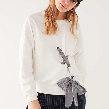 UO Tie-Through Lace-Up Sweatshirt | Urban Outfitters