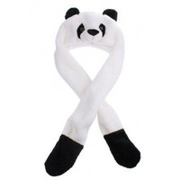 Panda Hat with Long Mittens Plushy Animal Cap