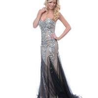 2013 Prom Dresses - Black & Nude Sequin & Beaded Tulle Strapless Prom Gown