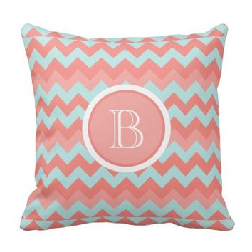 Chevron Coral Aqua Monogram Pillow