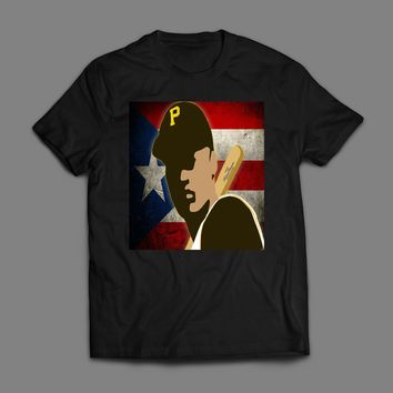 PIRATES ROBERTO CLEMENTE PUERTO RICO ART OLD SKOOL VINTAGE T-SHIRT